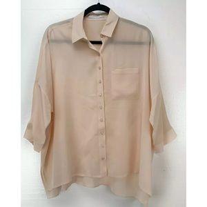 Anne Fontaine Shirt Top 42 Perdy Button Silk